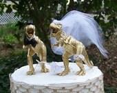 Dinosaur Wedding Cake Topper, T-Rex Cake Topper, Gold Dinosaurs-Prehistoric-Animal Cake TopperWedding Topper
