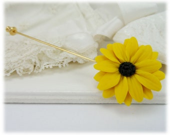 Black Eyed Susan Brooch or Stick Pin - Black Eyed Susan Jewelry , Yellow Coneflower