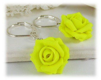 Neon Yellow Rose Earrings - Fluorescent Yellow Jewelry, Neon Jewelry, Neon Flower Earrings, Neon Yellow Jewelry, Bright Yellow Rose Earrings