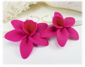 Large Orchid Earrings - Big Orchid Dangle Earrings, Orchid Jewelry Collection