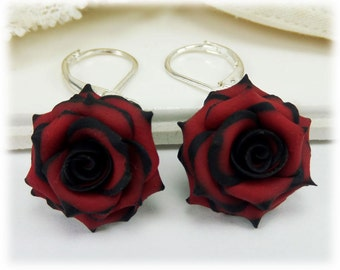 Black Red Rose Lightweight Drop Earrings or Dangle Earrings Style