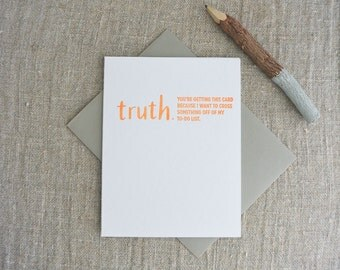 Letterpress Greeting Card - Friendship Card - TRUTHnote - To Do List - TRN-004