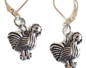 Hen chicken  silver tone handmade earrings for pierced ears