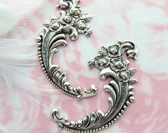 SILVER (2 Pieces) Victorian Floral Rose Flower Flourish Scroll Ornate Corner Stampings - Jewelry Ornament Antique Silver Findings (E-451) #