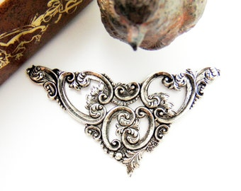 ANTIQUE SILVER * Victorian Scroll Cartouche Plaque Leaf Stampings ~ Jewelry Findings (C-902)