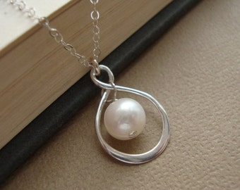 THREE DAY SALE Infinity Necklace -Pearl Necklace, June Birthstone Necklace,Drop Necklace, Bridal Jewelry,Wedding Necklace Sterling Silver In