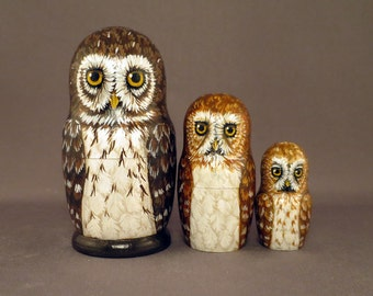 Nesting Dolls Owls Set of 3 Tiny Hooters