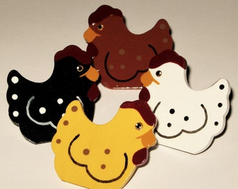 Country Farm Chickens Hen Push Pins for Bulletin Board