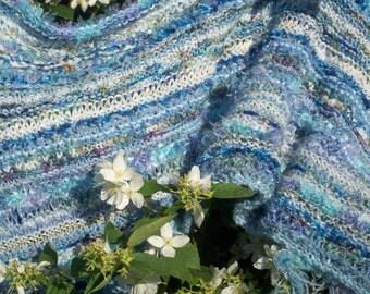 Knitted wedding shawl, luxury blue wrap, long wide scarf, warm cosy stole by SpinningStreak
