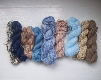 Grab bag assorted yarn 50g blue beige brown GB FE1604