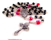 Divine Mercy of Jesus Rosary Beads In Montana Blue and Siam Red Czech Glass by Unbreakable Rosaries