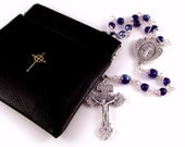 Oversized Black Rosary Case Squeeze Pouch Large Enough To Hold A Wire-Wrapped Rosary