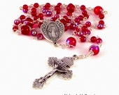 Miraculous Medal Rosary Beads In Siam Red AB Czech Glass Beads by Unbreakable Rosaries
