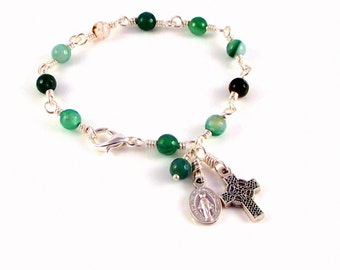 Miraculous Medal Rosary Bracelet In Green and White Agate With Celtic Cross by Unbreakable Rosaries