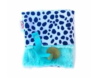 Mint Dalmatian Minky Binky Blanket