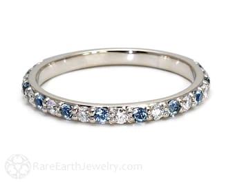 Aquamarine Ring Aqua Anniversary Band Diamonds Aqua Wedding Band 14K Gold or Palladium Stackable Ring March Birthstone Ring Gemstone Ring