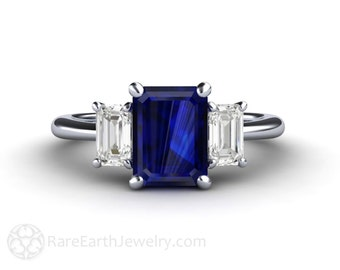 Sapphire Ring Blue Sapphire Engagement Ring 3 Stone with White Sapphires