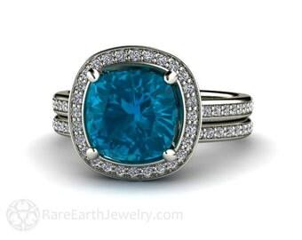Cushion London Blue Topaz Bridal Set Engagement Ring & Wedding Ring 14K or 18K Gold Diamond Halo Wedding Set Gemstone Ring