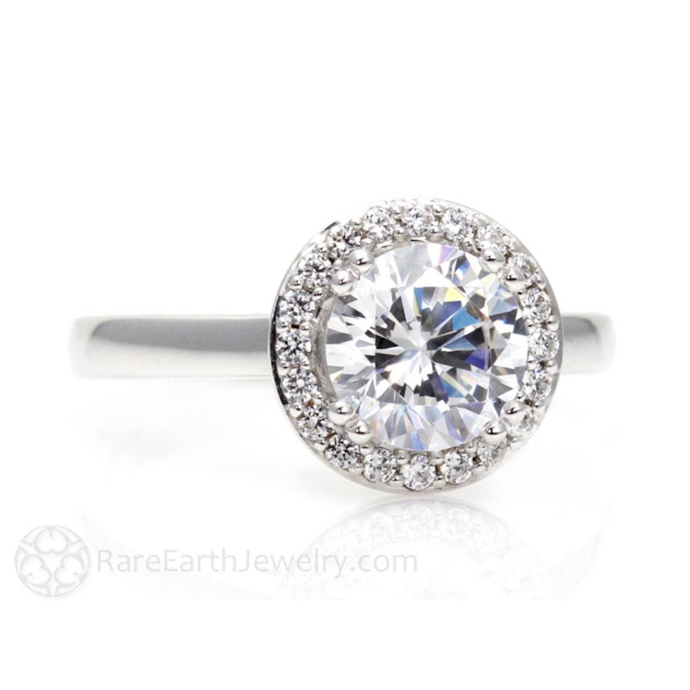 Platinum Moissanite Engagement Ring Diamond Halo Plain Band