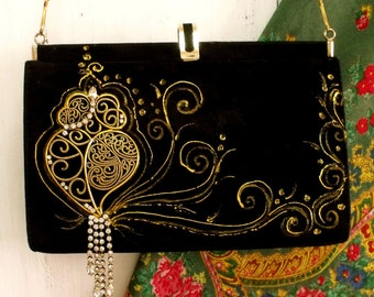 Viana Heart rhinestones Portuguese handbag