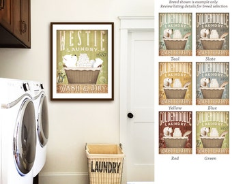 westie west highland terrier  dog laundry basket company laundry room artwork UNFRAMED signed artists print by stephen fowler geministudio