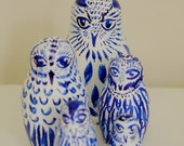 WINTER SALE Hand Illustrated Collectable Blue Owls Stacking Dolls/Russian Dolls/Matryoshka