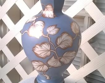 Beautiful Sky Blue Handpainted Table Lamp, Classic shape, needs Shade, 40s 50s era