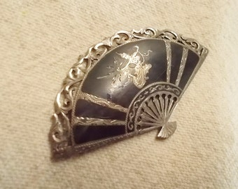 Siam Silver Brooch, 50s 60s Siam Fan, Nielloware, ancient art and Godess of Lightning.
