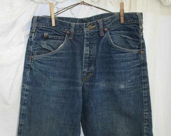 70s Denim Vintage Lee Riders Jeans flared jeans 70s Boot cut flare leg denim Talon 42 zipper deep blue denim USA made 34 30