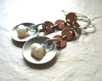 Pearl Earrings, White Pearl Earrings, Handmade Metalwork Pearl Dangle Drop Earrings, Pearl Jewelry, Pearl Copper Silver Earrings