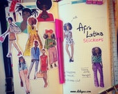 African American Latina chic girls STICKERS (set of 11) fashion illustration, watercolor drawing, planner decoration, hobonichi