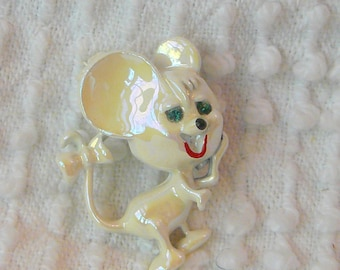 Vintage White Iridescent Mouse Brooch with Rhinestone Accents - retro sweetness