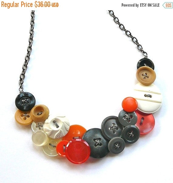 Winter sale Gray, Orange, White, Tan, and Black, Big Vintage Button Statement Bib Necklace