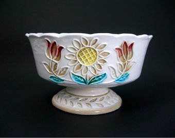 White Ceramic Compote Bowl, Colored Embossed Flowers, Vintage 1960s Napco Japan Fruit Bowl, Midcentury Table Decor Centerpieces