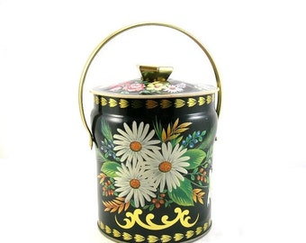 Floral Biscuit Tin, Black with White Daisies, Vintage, Lidded Cylindrical Tin with Handle, Murray Allen Made in England, Great Tea Holder