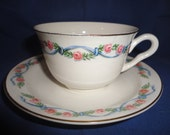 Vintage Hall Dinnerware Wildfire Cup and Saucer EUC