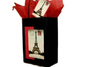 Gift Bag Set of Eiffel Tower 1909 Post Card Reproduction, Matching Tag, and Tissue