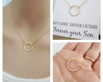 Gold necklace with gift card, Wedding gift for Mom, gold eternity necklace, Mother in law gift, Mother of the Groom & Bride, circle necklace