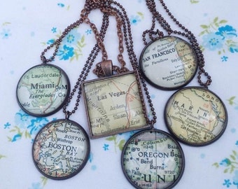 Custom City, State or Country Vintage Map Necklace, Your Choice of Location, Destination Traveler Keepsake Souvenir Jewelry, Going Away Gift