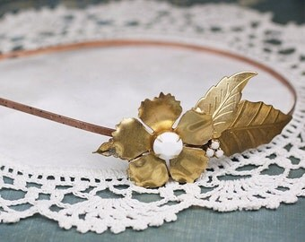 Brass flower headband white jewel vintage style bridal