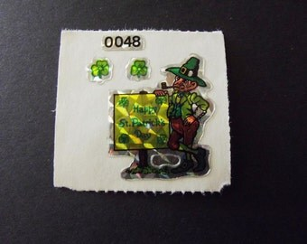 St. Patrick's Day Leprechaun Sticker Vintage 80's Sticca Graphics 0048 HTF prism