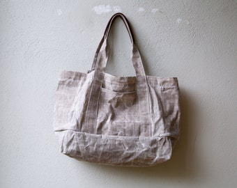 sale - bees waxed linen - Five Pocket Cape Tote  -  lined in waxed canvas - waxed canvas shoulder bag - waxed canvas tote
