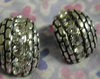 Silvertone Rhinestone Hoop Pierced Earrings