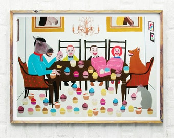 Fine Art, Print, Horse, Humor, Cupcakes, Animals, Vintage, Quirky, If We All Pull Together, We Can Get These Cupcakes Eaten By Sundown
