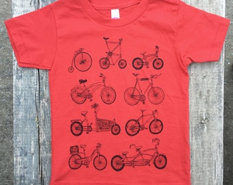 RED Bike shirt kids shirt USA made Printed in Vermont