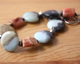 Colorful Amazonite and Coral Gemstone Bracelet, Chunky Amazonite Fashion Bracelet, Rainbow Stones and Silver Bracelet