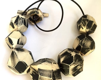 Betty In Black and White Fashion Necklace Statement Piece Art Jewelry Wood