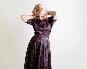 ON SALE Vintage 1960s Dress - Dark Floral Day Dress is Deep Blue, Purple, and Green Jewel Tones - Medium