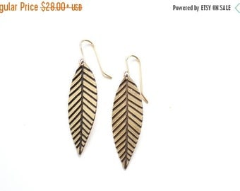 FALL SALE 30% OFF Midcentury Etched Feather Earrings - Brass, Gold Fill or Sterling Silver