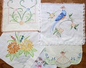 Vintage Embroidered Linen Lot Salvage Remnants #42...Blue,Orange...Peacock,Southern Belle Lady, Boy,Flower Basket,Mixed Lot,Scrap Collection